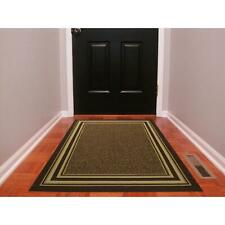 Rectangle Area Rug 3 x 5 ft. Bordered Brown Machine Washable Stain Resistant