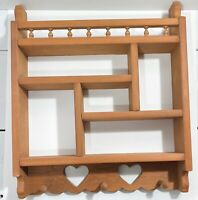 Wood Display Curio Wall Shelf Tier Hearts Vintage