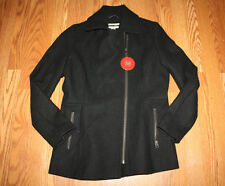 83b9ece2b8f7d NWT Womens KRISTEN BLAKE Full Zip WOOL Peacoat Coat Jacket BLACK Size S  Small