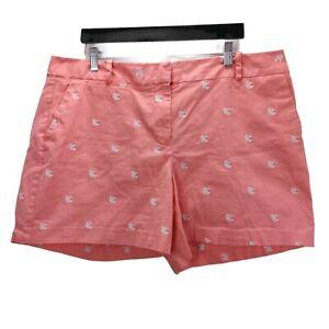 Talbots Embroidered Chino Shorts Size 16 Salmon Pink Angelfish Fish Nautical