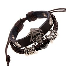Men Ladies Real Genuine Cowhide Leather Skull Surfer Braided Bracelet Wristband