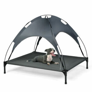 Raised Pet Bed With Canopy Help Keep Your Pet's Cool & Comfortable  - Grey