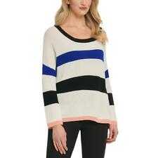 DKNY Womens Cotto Striped Crewneck Pullover Sweater Top BHFO 9577