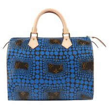 "LOUIS VUITTON c.2012 YAYOI KUSAMA Blue ""Monogram Town Speedy 30"" Polka Dot Purse"