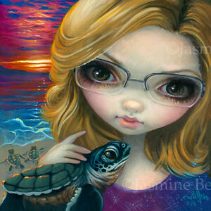 Fairy Face 237 Jasmine Becket-Griffith Art glasses sea turtles SIGNED 6x6 PRINT