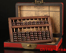 SUPERB ASIAN CHINESE VINTAGE COLLECTIONS LONGFENG LEATHER BOX + WOODEN ABACUS
