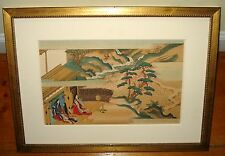 "Tosa Mitsuoki 17th c. ""The Tale of Genji"" Japanese Color Woodblock Print"