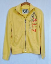 American Living Zip Front Cotton Sweatshirt Pockets Size Small Yellow