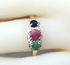 Three-stone Ring: Genuine Sapphire, Emerald, Ruby ring  925 Silver size 8