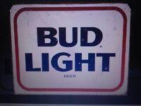 Bud Light Beer Bar Pub Man Cave Happy Hour Rustic Retro Tin Metal Sign 16 x 13in