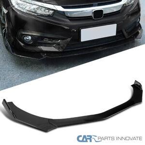 For Universal Ford Honda BMW Glossy Black PP Front Bumper Lip Spoiler 3PC
