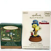 Lot 2 Hallmark Keepsake Jiminy Cricket from Pinocchio 2001 2011 Miniature Light