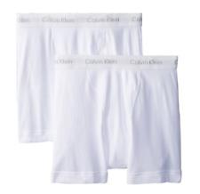 $57 Calvin Klein Underwear Men White U3019 Cotton 2-Pack Boxer Briefs Size S