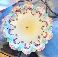 6 Gorgeous Vintage MZ Austria Porcelain Scalloped, Raised Edge Plates Pink Roses