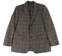 Lauren by Ralph Lauren Mens Blazer Brown Size 50 Plaid Print 2-Button $295 #287