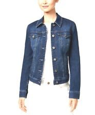 Style & Co. Size L/P Jeans Jacket Womens Embroidery Back Fitted Denim Jacket $69