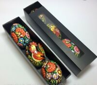 3 wooden Easter eggs hand painted Ukraine Pysanka gift Box Petrikivka painting