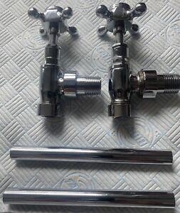 Victoria Plumb Radiator Valves pair of Traditional chrome 22MM ANGLED crosshead