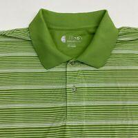 Izod Polo Golf Shirt Men's Size 2XL XXL Short Sleeve Green White Striped Cool FX