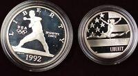 1992-S USA Olympics Baseball Silver Dollar Coin & Gymnastics Half as Issued OGP