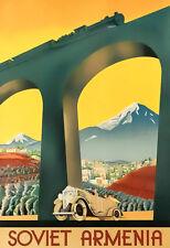 Art Ad Soviet Armenia Car Auto Train Rail  Travel   Poster Print