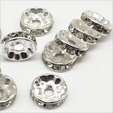 Lot de 20 Perles Strass Rondelles Intercalaires 10x4mm Argenté
