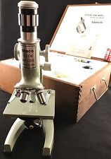 Vintage Tasco 1960's Microscope 500-1200X Zoom with Wooden Case