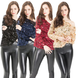 Women's Long Sleeve Tops Sequin Tops Sexy Sparkle Blouse Club Party Top
