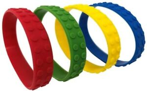 Coloured Brick Block Rubber Bracelets Wristband Party Bag Filler Gift Toy Bulk