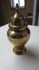 Vintage Brass Urn Vase with Lid, 6 1/2 in. Tall, Made in India