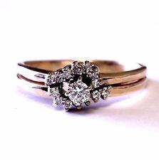 14k yellow gold .30ct SI2 H round diamond engagement ring & wedding band 4.4g