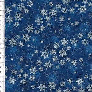 "(€18,00/m)Patchworkstoff -  "" Shimmer Frost "" blau / silber - 25 x 110cm"