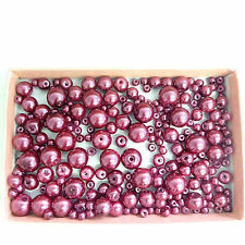 200 Assorted Sizes 4mm 6mm 8mm 10mm Glass Pearl Beads Burgundy