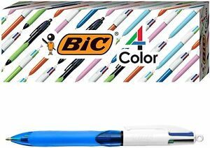 BIC 4 Color with Grip Ballpoint Pen, Blue Barrel, Medium Point, 3 Pens