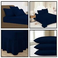 Navy Blue Plain Dyed Fitted Flat Valance Bed Sheet Single Double King Pillowcase