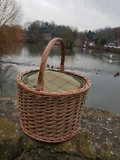 Barrel Picnic hamper with tweed chiller basket