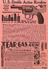 1936 Print Ad of US Double Action Revolver & Tear Gas Fountain Pen Gun .38 S&W