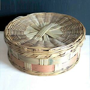 """Round Woven Vintage Sewing Basket with Lid Storage Decor Trinket 10"""" FREE SH"""