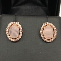 2 Ct AAA Rose Quartz Diamond Halo Earrings 14K Rose Gold Plated Women Jewelry