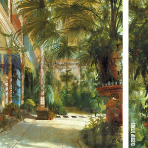 "28W""x32H"" THE PALM HOUSE by CARL BLECHEN - TROPICAL TREES VASED ENTRANCE CANVAS"