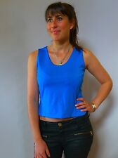Vintage retro true 1980s S M 10 12blue stretch crop top Knock out