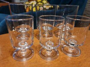x6 Vintage Scandi Style Short Stem Clear Glasses Tumblers - Wine Port Water etc