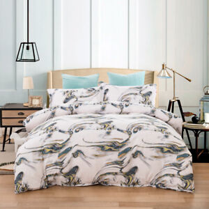Abstract Cloud Quilt Duvet Doona Cover Set King Size Bedding Linen Pillow Case
