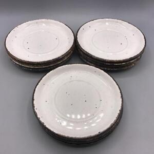 "Stonehenge Midwinter 7"" Bread & Butter Plates Brown Specks Brown Rim Lot of 11"