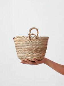 Bohemian Handmade Palm Leaf natural living boho mini basket shopper Beldi basket