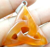 Beautiful AGATE carved Hollow out Triangle PENDANT Gemstone Loose Beads PL_28