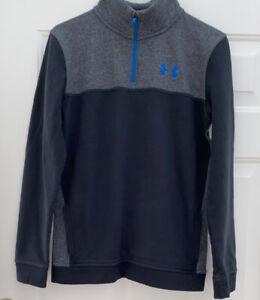 Under Armour Boys Youth YXL Pullover 1/4 Zip Gray Coldgear Sweatshirt EUC