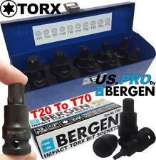 """BERGEN IMPACT TORX BIT Sockets Set 1/2"""" Drive Impact TX Star Sockets T20 To T70"""