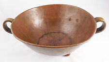 RUSSIAN IMPERIAL Copper / Brass 3 Footed 2 Handled BOWL, Hand-Made Dovetailed
