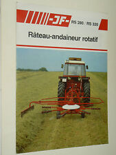 Prospectus Rateau Andaineur JF catalogue Tracteur prospekt brochure tractor